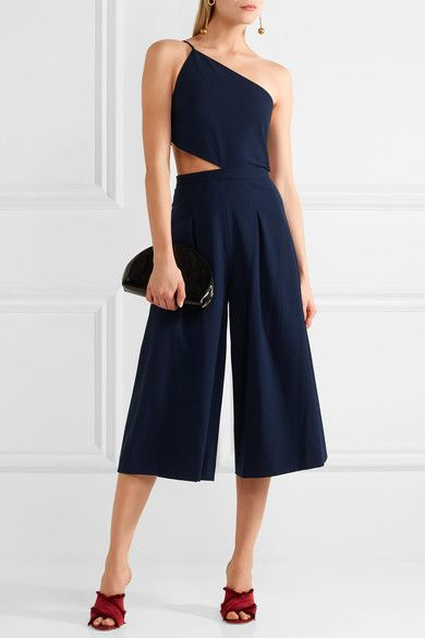 Navy stretch-crepe Concealed hooks and zip fastening at back 63% polyester, 32% viscose, 5% elastane; lining: 100% polyester Dry clean Designer color: Prussian Blue Imported