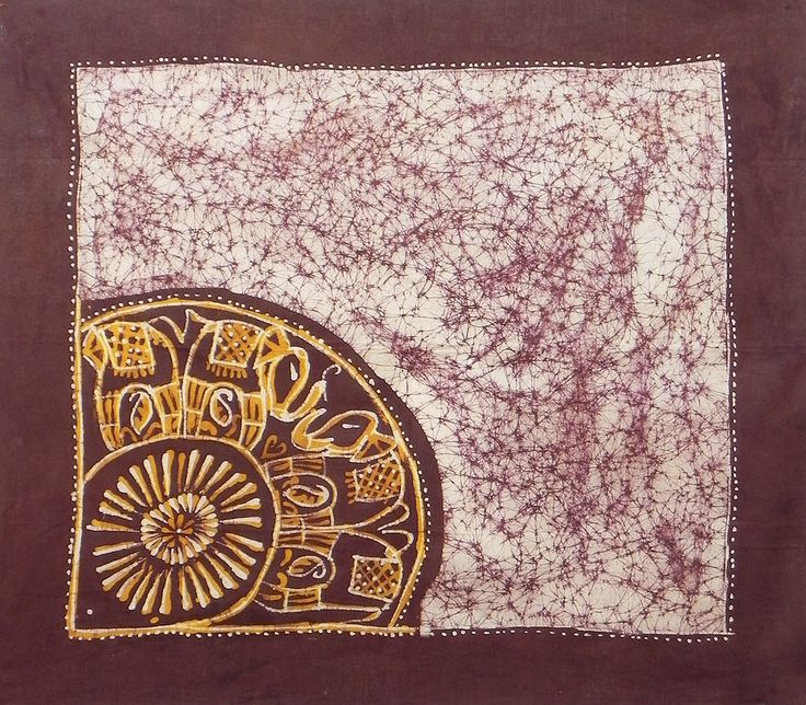 Maroon, Yellow and White Cotton Batik Head Scarf (Cotton Cloth)