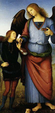Raphael-Dio guarisceViatores comitor, infirmos -medico-Vasetto di medicinali (di solito è il pesce; accompagnato da Tobia