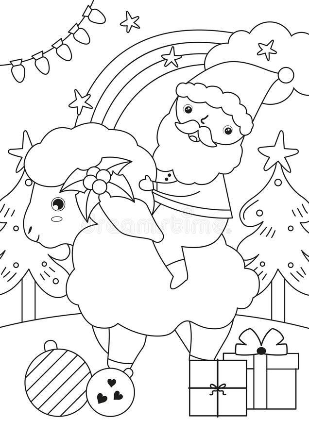 Dreamstime Coloring Page Book Elf Christmas Tree Education Art Activity Kids Xmas Santa Sheep Illustration Coloring Pages Illustration