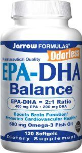 Jarrow Formulas EPA-DHA Balance, 120 Capsules by Jarrow. $11.30. Omega-3 EPA/DHA Softgels               2:1 EPA-DHA Balanced Ratio                Conforms to CRN & proposed USP monographs. EPA-DHA Balance contains pharmaceutical grade; ultra-purified and highly concentrated omega-3 fatty acids from fish oil.EPA-DHA Balance offers synergistic benefits from both important omega-3 fatty acids in a 2:1 ratio.*EPA-DHA Balance Purified by molecular distillation. Meets st...