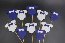 Blauw Babykleertjes Cupcake toppers decoratie voor Kids Birhday feestartikelen…