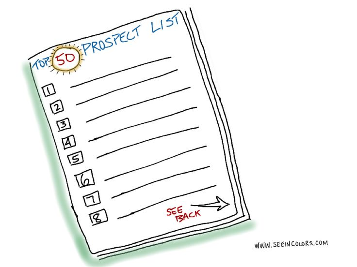 Tory Johnson's advice, always have your Top 50 Prospect List to succeed in business.  Sketchnotes by Lisa Nelson of seeincolors.com