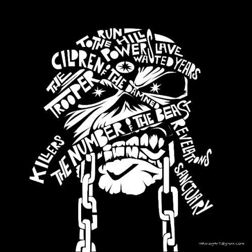 Iron Maiden Stencil Letters