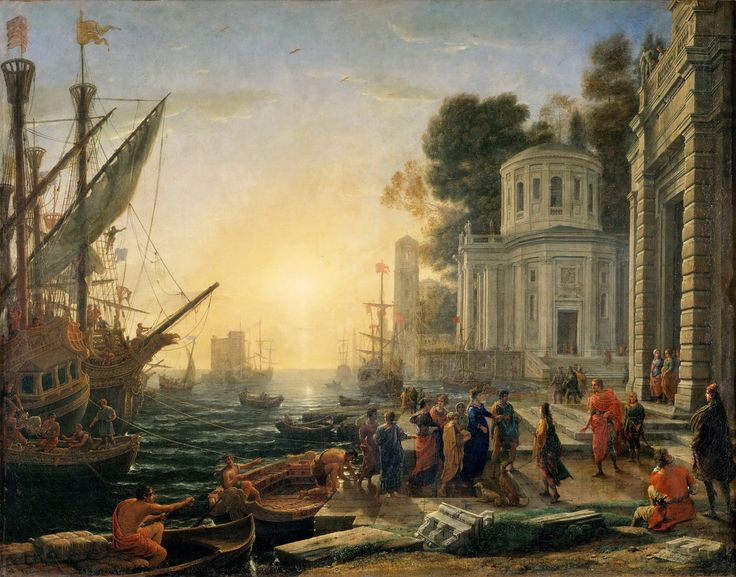 SEAPORT WITH CLEOPATRA DISEMBARKING AT TARSUS. 1642. oil on canvas. 117 × 147,5 cm. Liber Veritatis : drawing n. 63. Provenance : painted for Cardinal Barberini and  documented in 1683 in Louis XIV Collection; in 1695 at Trianon of Versailles. Restaurated : in 1767. The preparatory drawing is in  Chatsworth, Devonshire Collection ( catalogue of Rothlisberger n. 505 ). Paris. Musée du Louvre. Inv. No. 314.