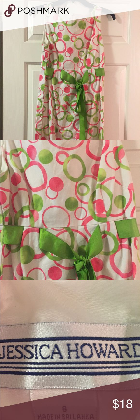 Jessica Howard Dress Knee length dress. White background with bright pink & green circles. Great for work or a night out. Dresses Midi