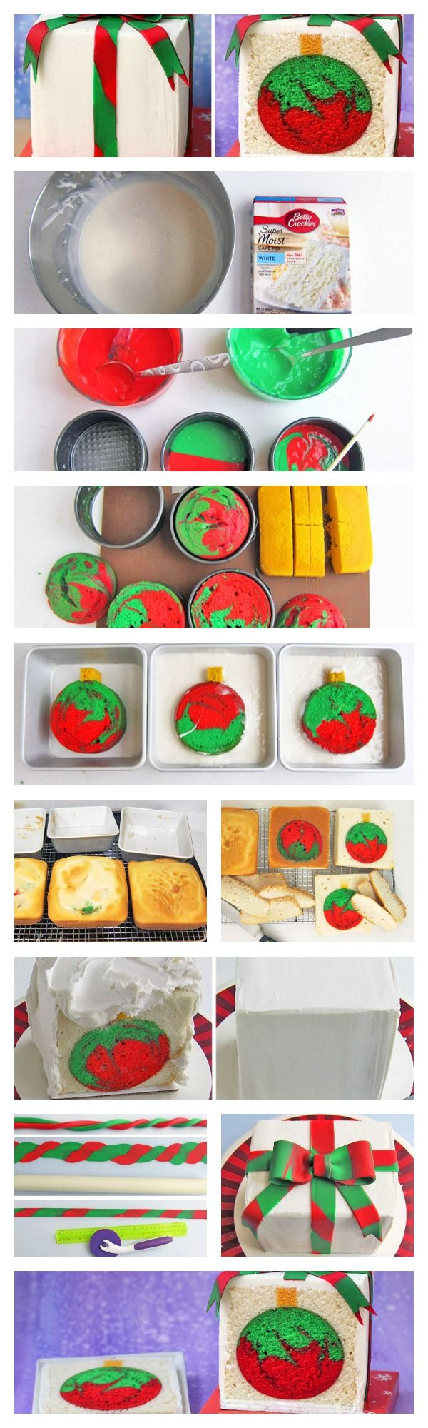 A cake decorated to look like a Christmas present is cut to reveal an ornament…