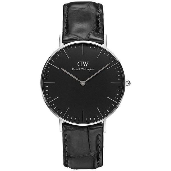 Daniel wellington black reading watch leather silver 36mm ($239) ❤ liked on Polyvore featuring men's fashion, men's jewelry, men's watches, mens leather watches, mens silver watches and mens black face watches