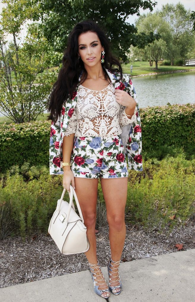 Floral matching shorts and jacket with cute crochet top
