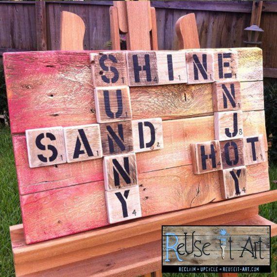 """Wood Sign Pallet Art 21"""" x 13"""" Sun & Sand Scrabble Art"""