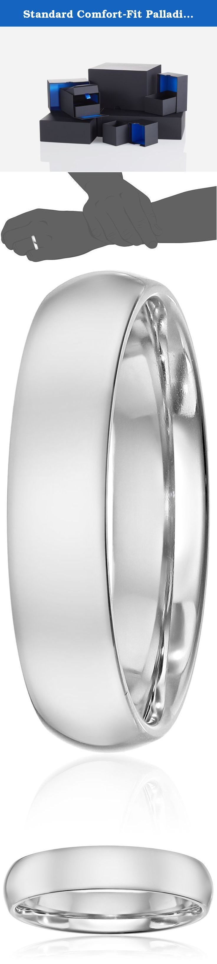 Standard Comfort-Fit Palladium Band, 5mm, Size 10. With its sleek metallic design, the Men's Palladium Comfort Fit Wedding Band Ring with Luxury High Polish is a classic piece he will enjoy wearing every day. This ring is 5mm in width and is polished to reveal incredible shine. Embracing comfort-fit design, the band grants relaxing wear from day to night. Crafted out of Palladium, a white precious metal from the platinum group, it is a quality accessory that will last.
