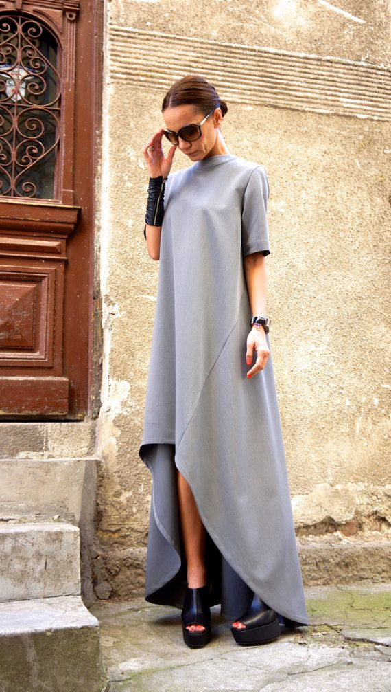 New Collection Maxi Dress / Grey Asymmetrical Kaftan / par Aakasha