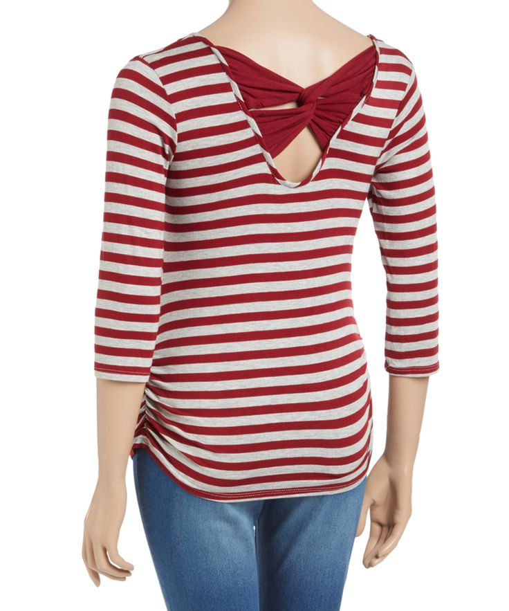 Due Time Burgundy & Heather Stripe Strappy-Back Maternity Top