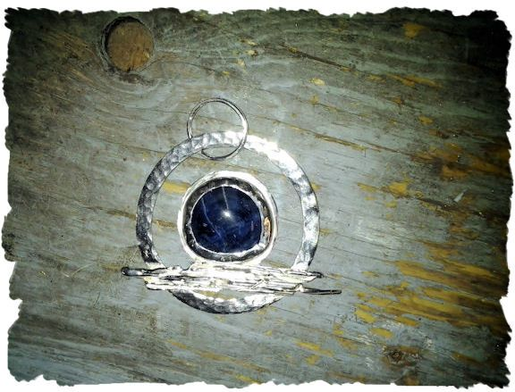 By Grace at Adornametals : Once In A Blue Moon This piece just happened. Broom casting combined with hammered silver, sodalite blue moon.