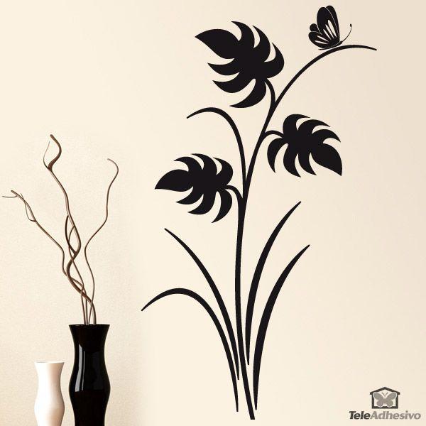 Vinilo floral hojas y mariposa color negro y orientaci n for Vinilos mariposas