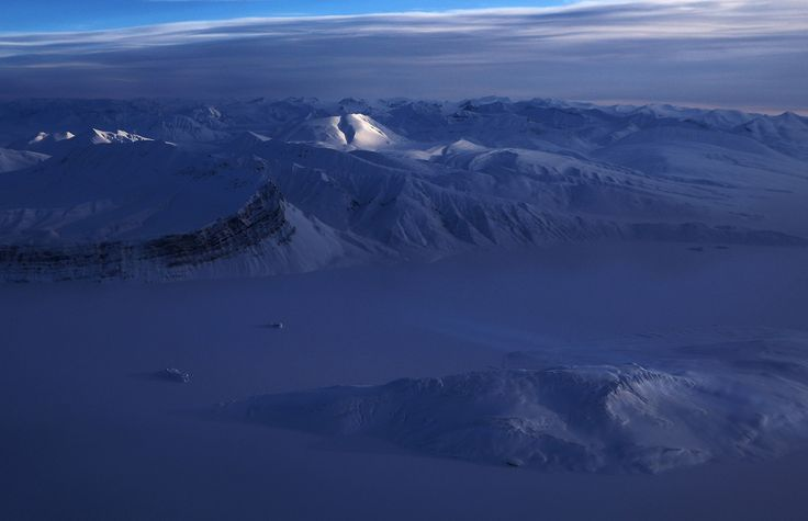 A section of an ice field is seen from NASA's Operation IceBridge research aircraft on March 30, 2017 above Ellesmere Island, Canada.