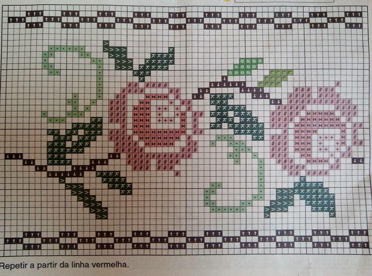 Um gráfico simples e lindo para enfeitar toalhas de lavabo, toalhas de rosto ou toalhas de banho.       Até breve!