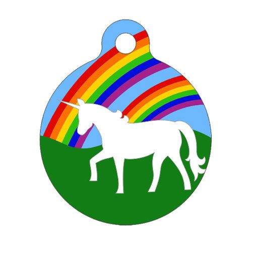 Pet ID Tag - Double Rainbow AND a Unicorn Pet Tag, Dog Tag, Cat Tag by ebonypawspets on Etsy https://www.etsy.com/listing/60490310/pet-id-tag-double-rainbow-and-a-unicorn