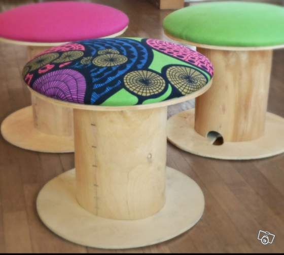 $46 / 35€  bench grinder + ikea fabric = wonderfull stool ♥