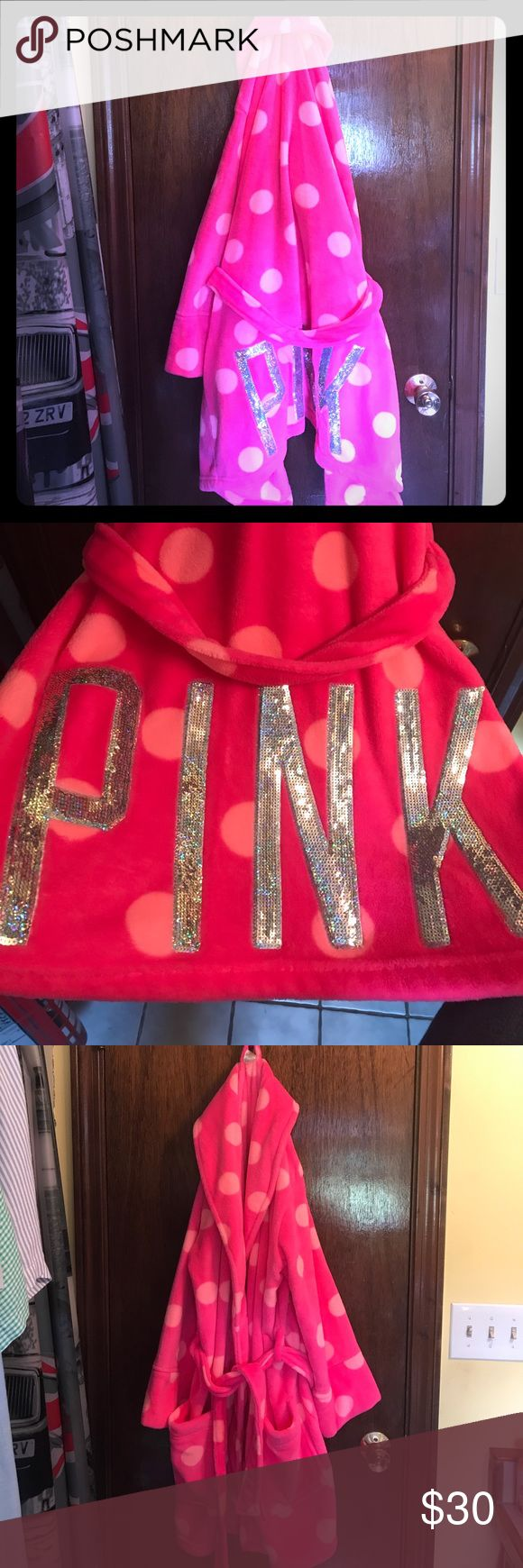 Pink bathrobe Hardly ever used Pink bathrobe. Size M/L and ties inside as well as around the waste. All sequins are attached. PINK Victoria's Secret Intimates & Sleepwear Robes