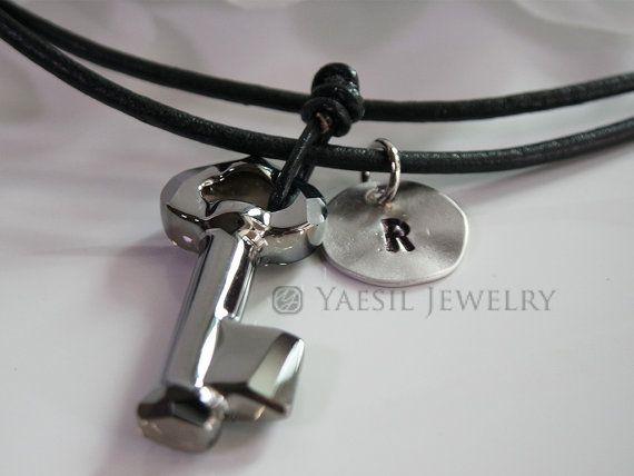 Black Leather Necklace with Yoko Ono Signature by YaesilJewelry