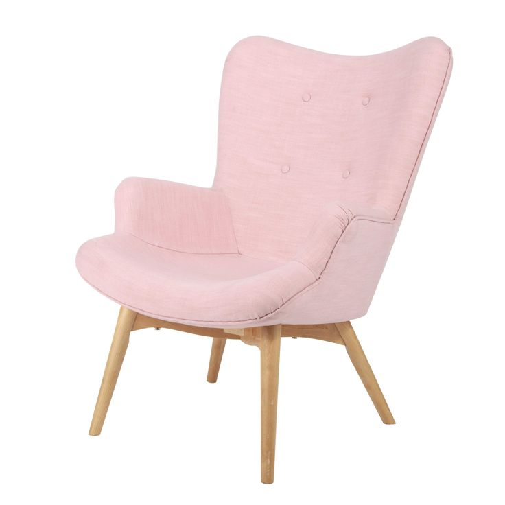 Fabric vintage armchair in pink Iceberg