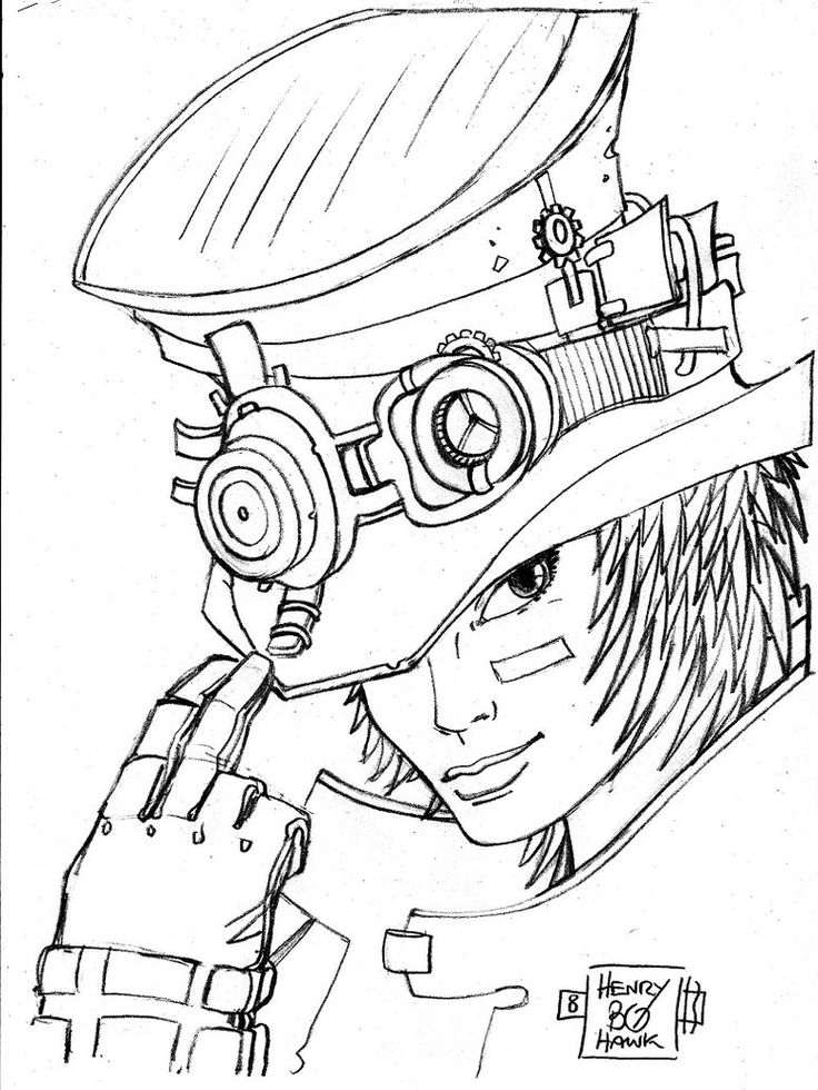 steampunk men coloring pages sketch coloring page