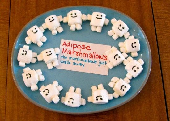 I made marshmallow adipose guys with royal icing to hold the marshmallows together.