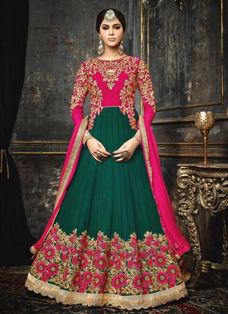 Glowing Green Lace Work Floor Length Anarkali Suit