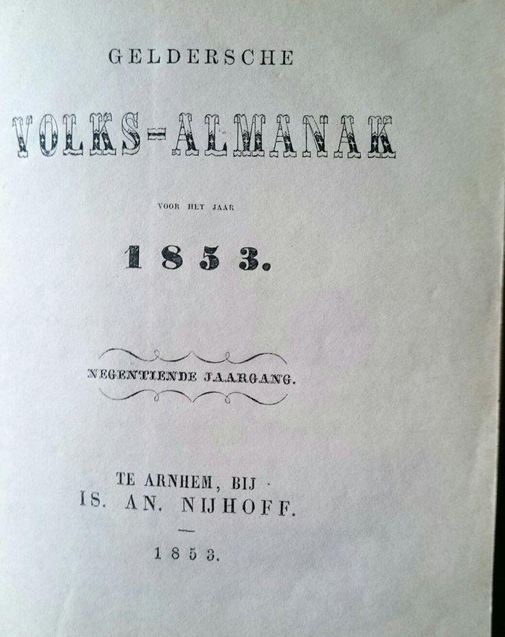 De eerste novelle van j.j cremer verscheen in de Geldersche volksalmanak  van 1853. Zie www.jacobcremer.nl
