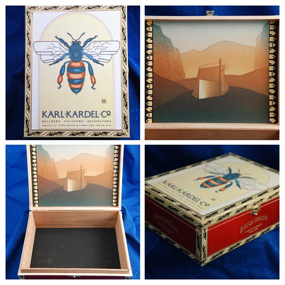 "Goines Decorator Insect Bee Decoupage Storage Box, Trinket Box, Keepsake Box, Display Art Box with Clasp   Vintage Poster Karl Kardel David Goines Decorator Insect Bee 1974 on the outside with a gold clasp. Soft, faux leather black flooring.    We have done our best to select the highest quality cigar boxes available. However, there may be some box imperfections that will not affect its beauty of usefulness.    Dimensions: 7"" x 9"" x 3""  $25.00  #ArtBox #JewelryBox #TrinketBox #insect…"