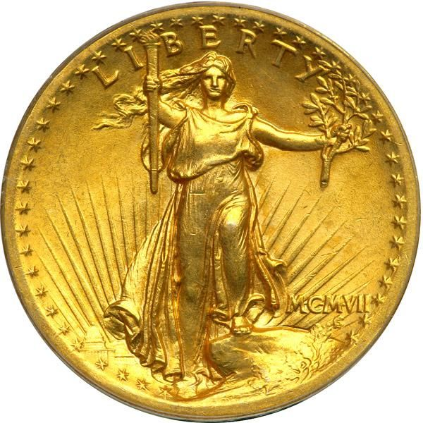1907. High Relief, Roman Numerals, Flat Rim. PCGS MS64 Splendid golden toning. A full bold strike. Brilliant, lustrous, and of strict high-end quality in all areas, this lovely MS64 MCMVII High Relief Saint-Gaudens beauty will, we are confident, find a home either with a type set buyer or with a double eagle specialist or, possibly with someone who is attracted to the fame of the coin. The High Relief $20 gold piece has long been admired as America's most beautiful gold coin. From the…
