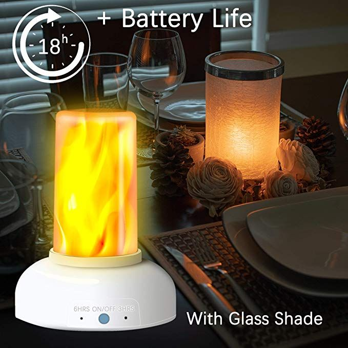 Led Flame Torch Table Lamp Gift Package Rechargeable Modern Cracked Style Glass Table Lamps For Living Room Flame Torches Glass Desk Lamps Glass Table Lamp