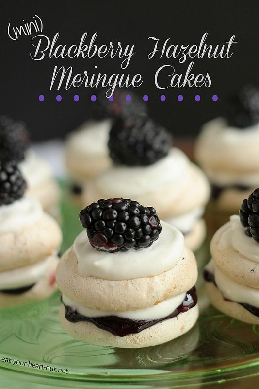 Mini Blackberry Hazelnut Meringue Cakes:Gluten-free hazelnut meringue cookies layered with blackberry preserves, whipped cream, and a fresh blackberry make the cutest two-bite meringue cakes you ever did see.