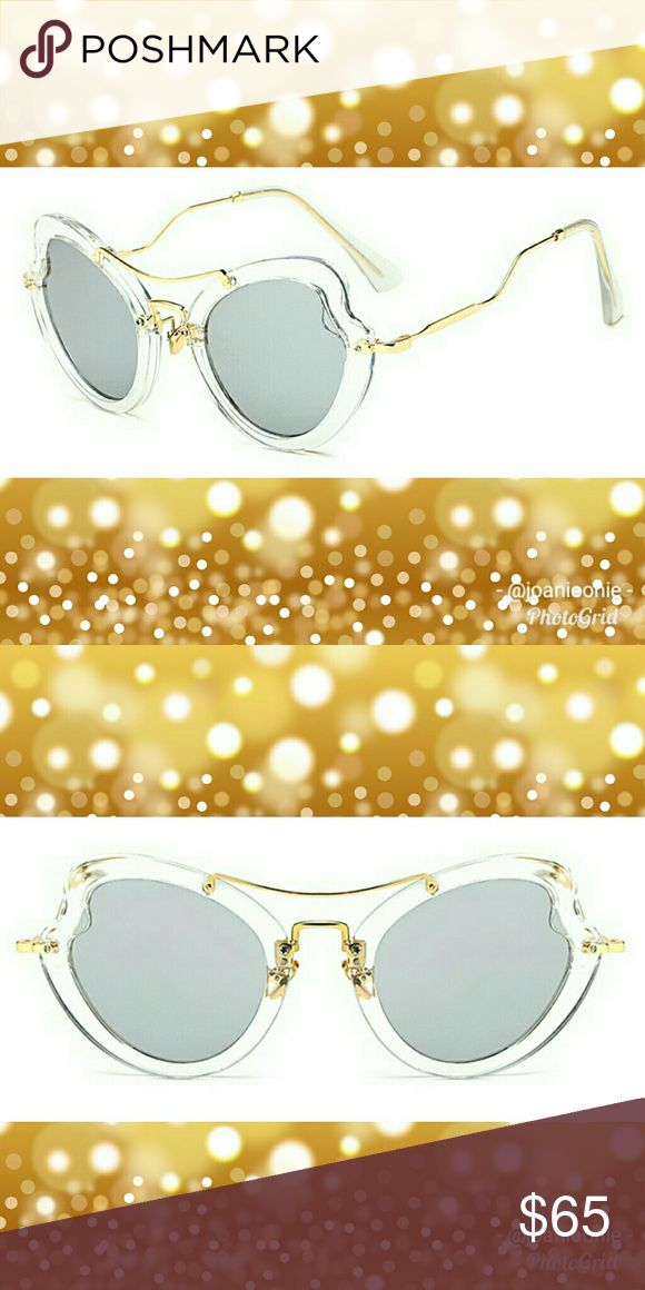 ☀ Edgy 💛 Butterfly Heart Sunnies On-trend SUNNIES!  High quality, heart-shaped butterfly/cateye sunglasses.  100% UV & UVB protection with UV 400 polarized lenses in grey tint. Constructed of polycarbonate crystal clear frames, gold temples, flexible & soft gold colored silicone nose pads. NWOT. Includes soft protective bag  Smoke-free environment ⤵ 🆕 NEW to Poshmark? Sign up on app using discount code:  👀 💥 JOANIEONIE 💥 👀   ↪ get $5 OFF your 1st order!  ↗ 💲…