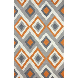 nuLOOM Handmade Geometric Triangle Orange Rug (5' x 8') | Overstock.com Shopping - Great Deals on Nuloom 5x8 - 6x9 Rugs