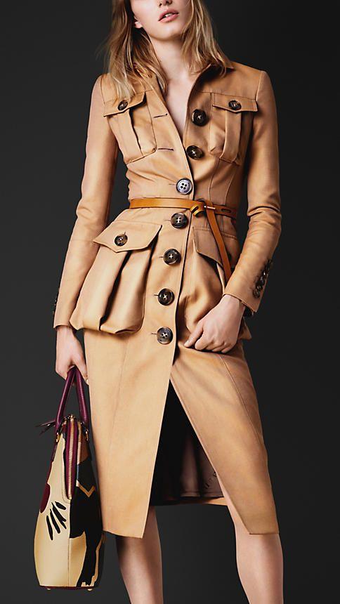 Burberry Double Gabardine Bellows Pocket Coat