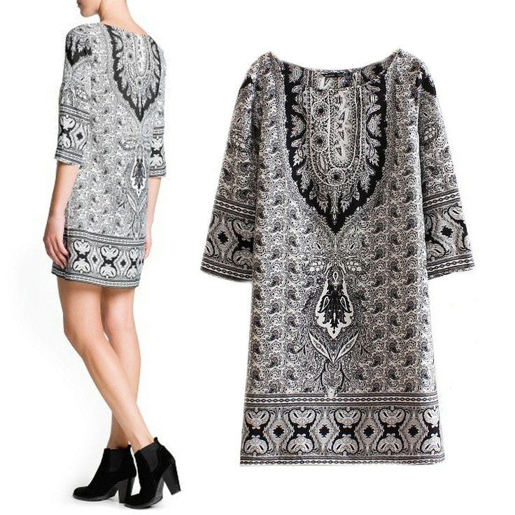 2014 Падение Новый европейский стиль Пейсли шаблон платье рукав платья дна платье блузки - Taobao