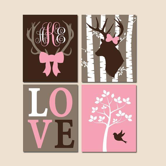Deer Nursery Wall Art Canvas Or Prints Woodland Theme Rustic Baby Decor Bow Monogram Set Of 4 Trm Design