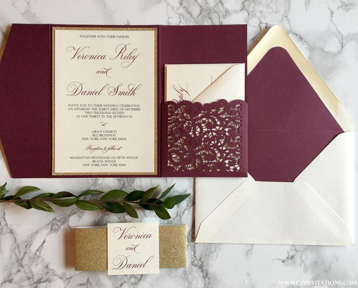 Laser Cut Pocket Wedding Invitation Burgundy And Gold Glitter Marsala