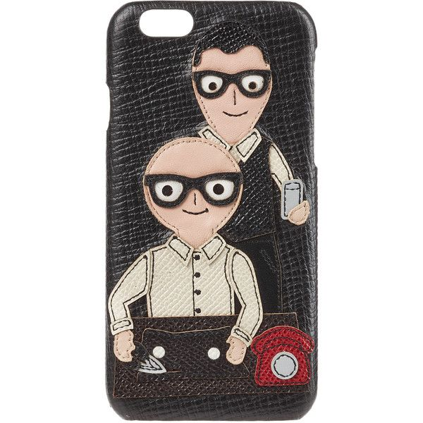 Dolce & Gabbana Leather Phone Cover ($369) ❤ liked on Polyvore featuring men's fashion, men's accessories, men's tech accessories, black and mens leather accessories