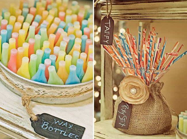 retro wedding candy table with wax bottles and pixy stix