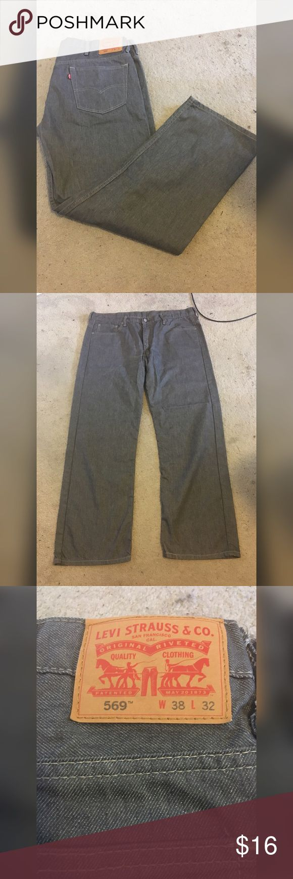 LEVIS 569 Grey denim wash W38 L30 Purchased at macys my bf worn them twice for dinner party but he no longer can fit em so selling to clear space and money fit true to size has cotton elastane relaxed fit Levi's Jeans Relaxed