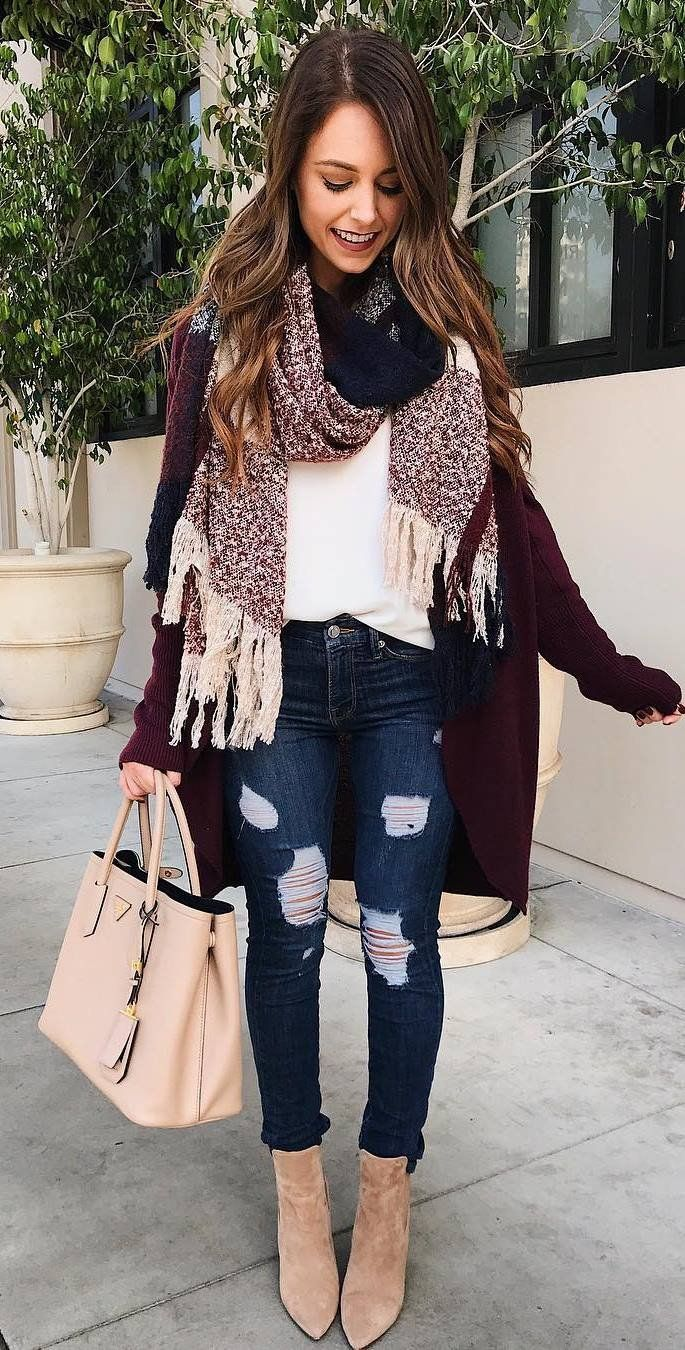 winter outfit scarf + top + cardi + bag + rips + boots
