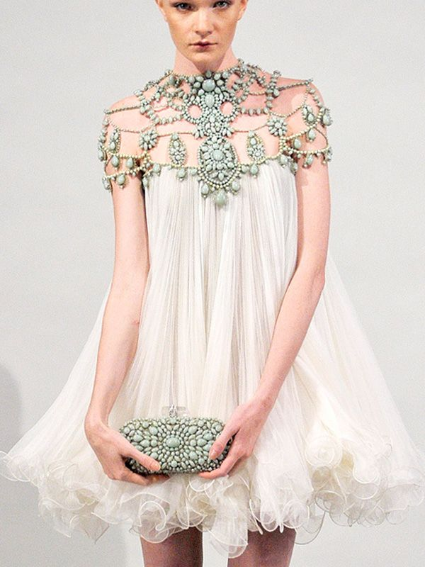 Marchesa Spring Dress...and matching clutch. ♥ the embellishment ♥