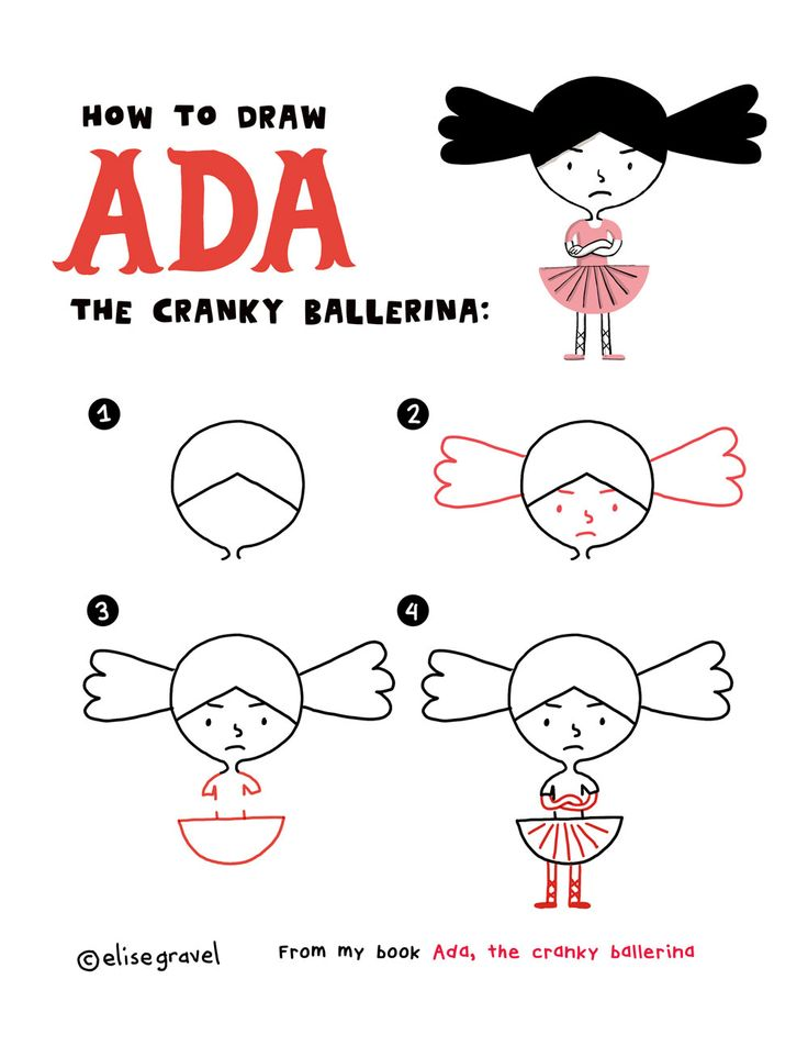 How to draw Ada • cranky ballerina • cute • kids• drawing • tutorial • easy • simple • fun •Elise Gravel