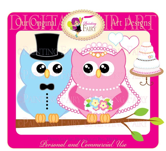 Buy 2 get 1 Free Lovely wedding owl clip art Happily Ever ...