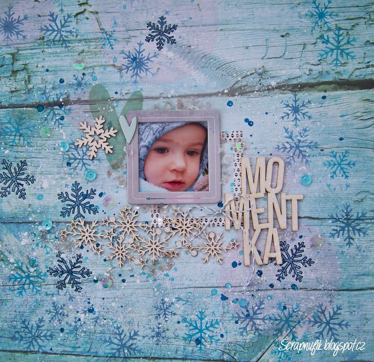 Winter layout with snowflakes