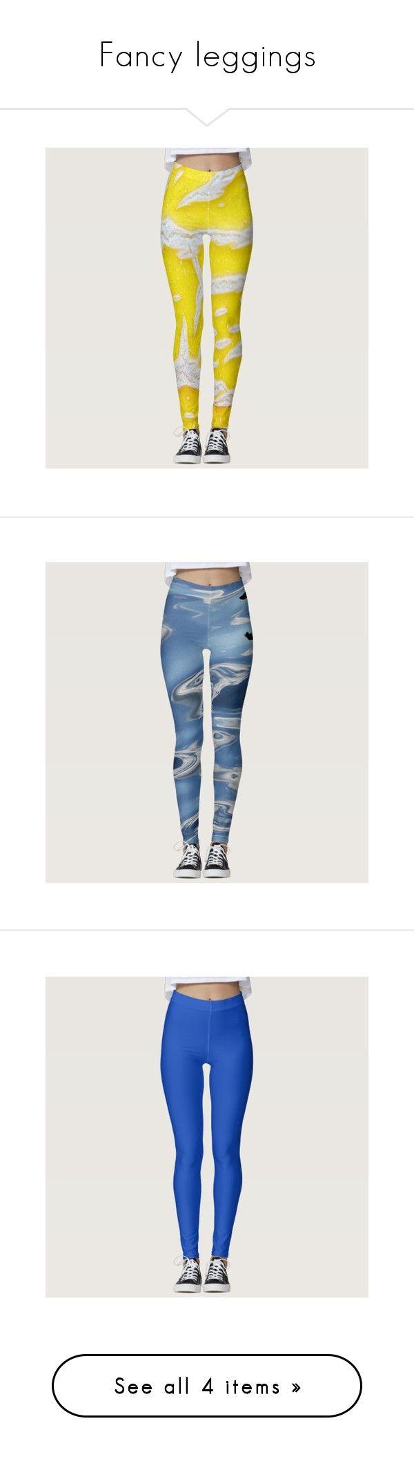 """Fancy leggings"" by karinravasio ❤ liked on Polyvore featuring pants, leggings, patterned leggings, yellow pants, patterned pants, legging pants, yellow leggings, blue trousers, blue leggings and abstract leggings"
