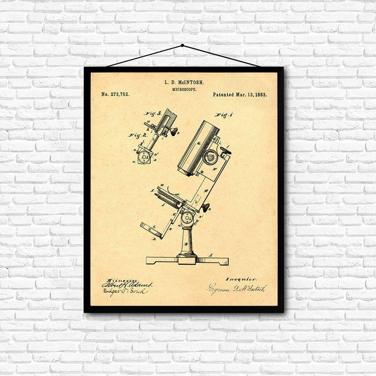 Microscope Patent Print- 1883 - Poster Wall art Illustration Print Art Home…